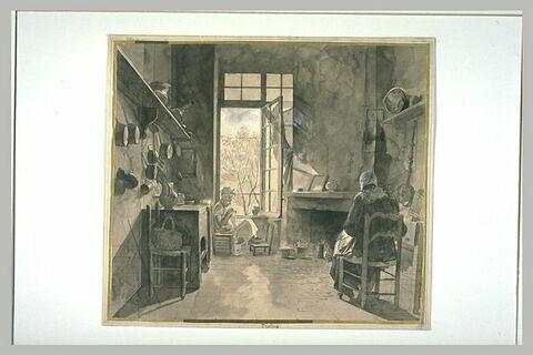 Dans une cuisine carrelée, deux femmes assises en train de coudre