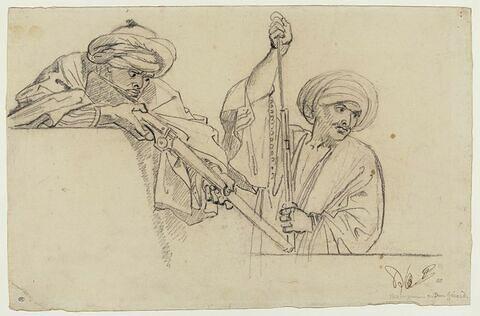 Deux soldats coiffés d'un turban et vêtus à l'orientale, derrière un mur