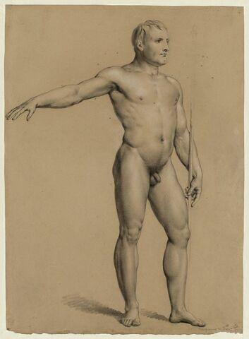 Homme nu debout, étendant le bras droit
