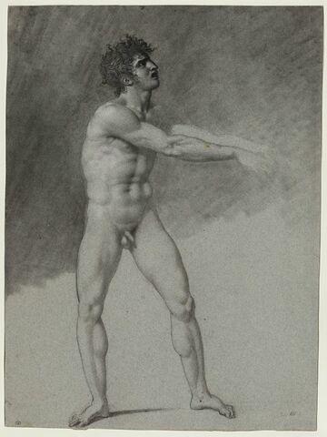 Homme nu, debout, les bras tendus en avant