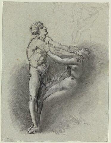 Homme nu tenant une femme par le cou