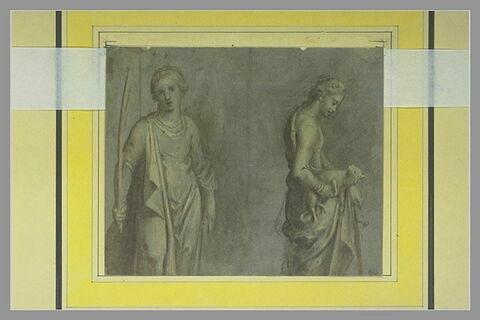 Martyre tenant une palme et sainte Agnès tenant un agneau