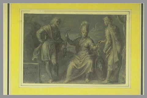 Minerve présentant un mors et un bouclier à deux personnages