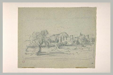 Paysage avec un chateau flanqué de tours crénelées