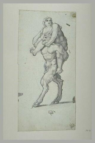 Femme sur les épaules d'un satyre