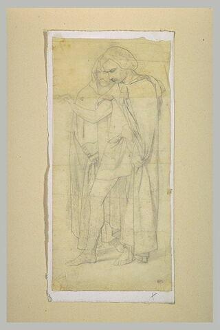 Deux figures drapées tournées vers la gauche