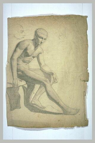Etude d'après un Hermès antique, assis sur un rocher, et croquis d'une tête
