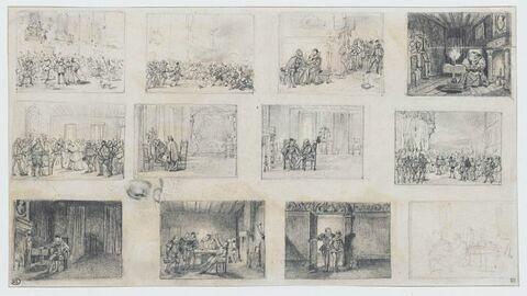 Douze scènes d'époque Renaissance et une étude de tête