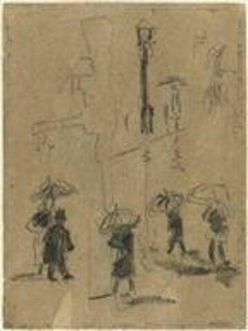 Promeneurs sous la pluie à Ostende