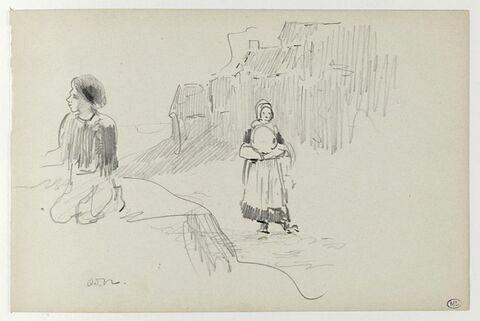 Jeune garçon à genoux ; Bretonne marchant ; maisons