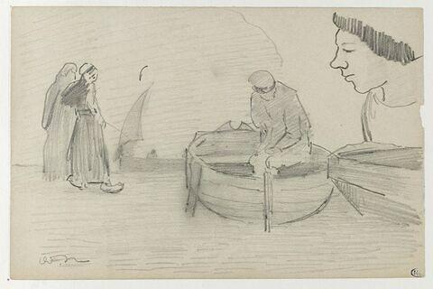 Deux Bretonnes debout ; deux pêcheurs dans leur barque ; tête de profil