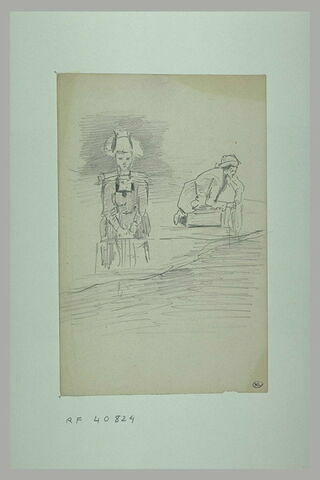 Deux Bretonnes lavant du linge à genoux, au bord de l'eau