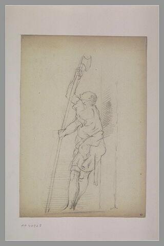 Homme debout, tourné vers la gauche tenant une hallebarde