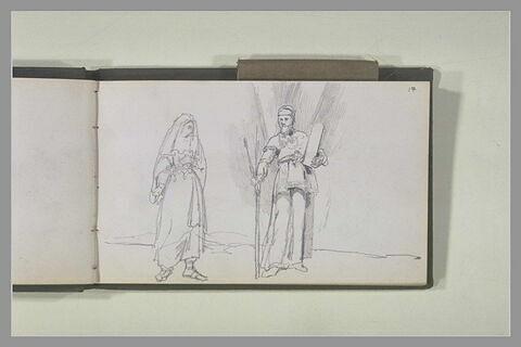 Moïse tenant les Tables de la Loi et une femme voilée