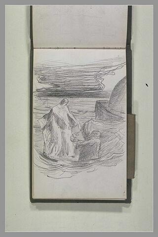 Jésus marchant sur les eaux tendant les bras à saint Pierre