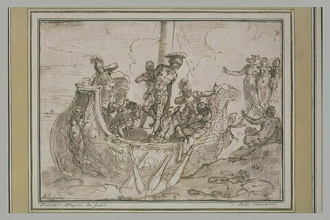 Ulysse lié au pied du mât de son vaisseau écoutant quatre sirènes