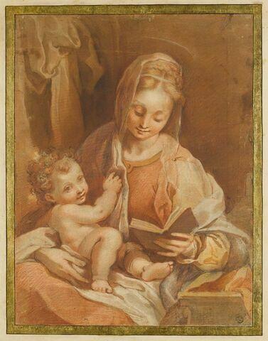 La Vierge assise tenant l'Enfant Jésus nu et un livre ouvert