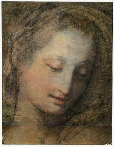 Tête de femme, de trois quarts et penchée vers la droite, les yeux baissés