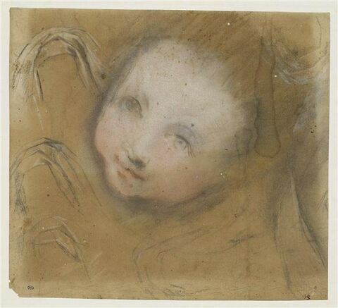 Etude d'une tête d'enfant, vue de face