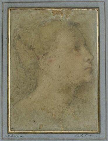 Tête de femme, de profil, tournée vers la droite