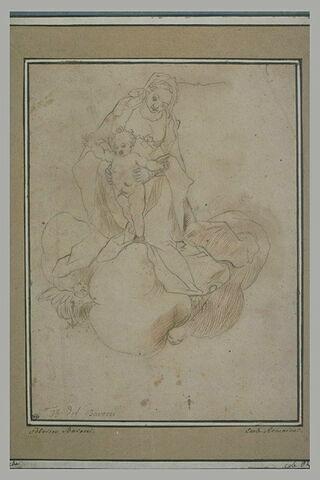 La Vierge et l'Enfant Jésus sur des nuages