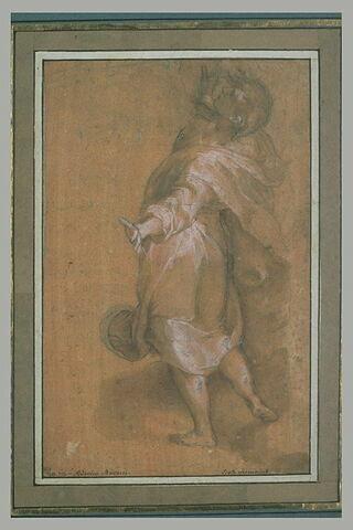 Homme drapé, debout, de dos, regardant vers le haut : saint Jean
