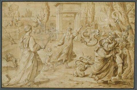 Scène allégorique avec un magicien et une femme tenant un caducée