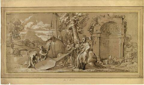 Cimon faisant mettre dans la galère, le bouclier de Thésée, mort à Syros