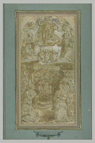 Dieu et plusieurs saints assitant à la fondation de Santa Maria della Neve