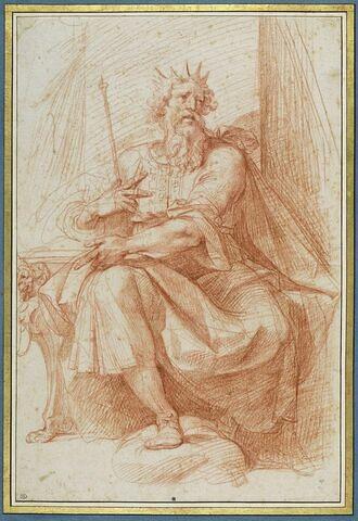 Le Roi David assis un sceptre dans la main
