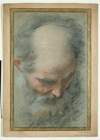 Tête de vieillard chauve et barbu, presque de face, regardant à terre
