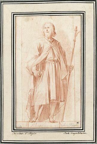 L'apôtre saint Jacques, debout, de face, les yeux fixés vers la gauche