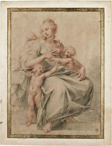 La Charité chrétienne : femme assise entourée de trois enfants