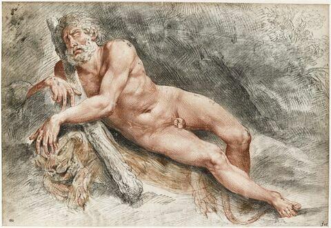 Hercule dormant dans la forêt, couché sur sa peau de lion, tenant sa massue