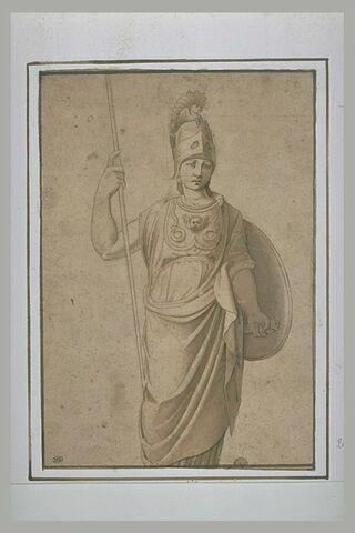 Minerve debout, vue de face tenant sa lance et son bouclier