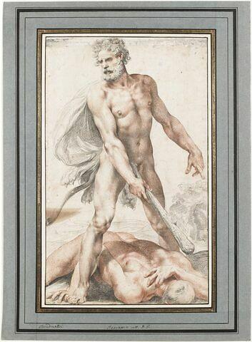 Hercule nu, debout tient la massue avec laquelle il a frappé Cacus étendu