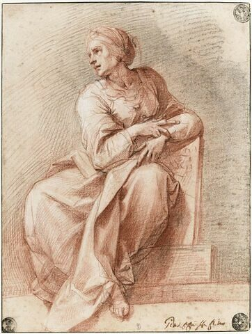 Femme assise, tournée vers la gauche : la Sibylle d'Erythrée