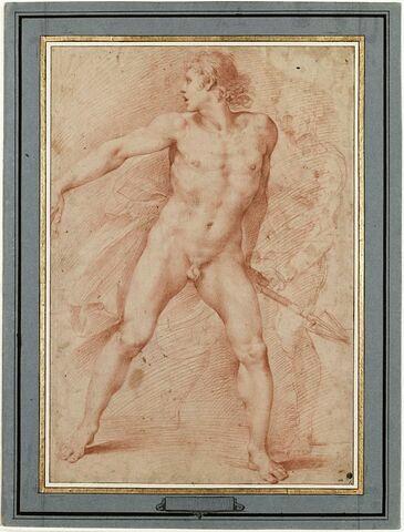 Homme nu, marchant, une lance dans la main gauche, et autre figure esquissée