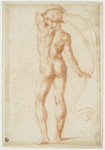 Homme nu, vu de dos, le bras gauche levé au dessus de la tête