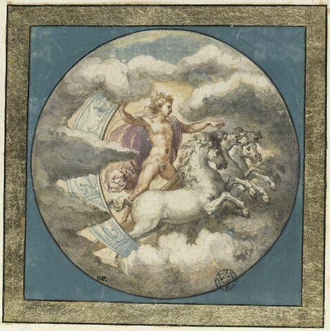 Apollon debout sur son char attelé de quatre chevaux