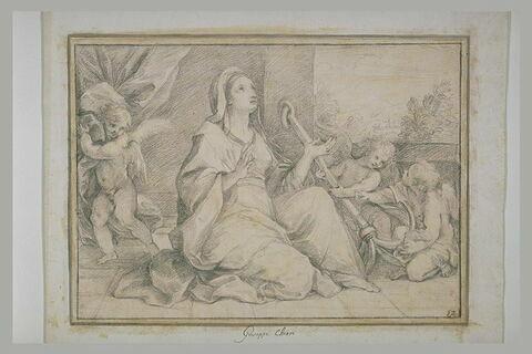 Femme assise entourée de trois angelots portant une ancre : l'Espérance