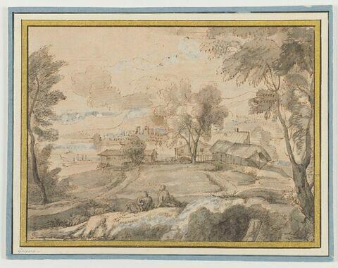 Paysage avec deux personnages, ferme et ville au loin