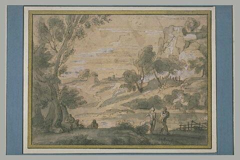 Paysage avec diverses figures d'hommes, autour d'un étang