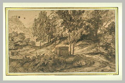 Paysage avec un tombeau au centre