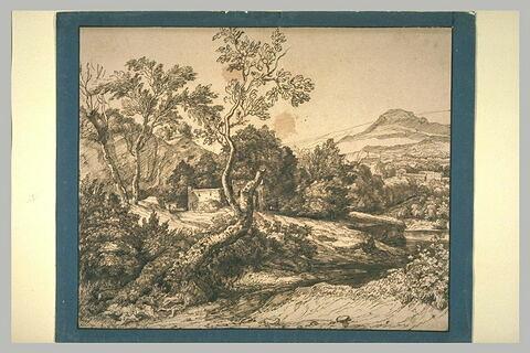 Paysage avec au centre deux ruines et un grand arbre