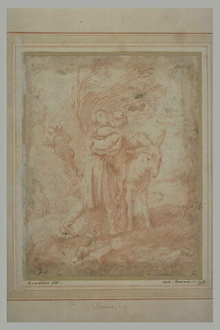 Un homme aidant un autre à s'asseoir sur un âne : le Bon Samaritain