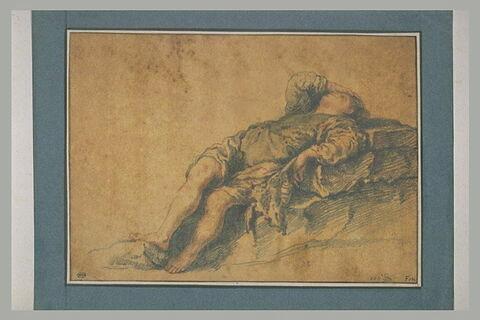 Homme endormi sur un rocher : le songe de Jacob
