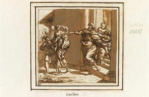 Abraham chassant Agar : elle est debout, à côté d'elle son fils pleure