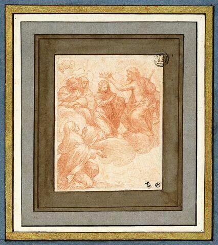 Couronnement de la Vierge par le Christ, devant trois saints