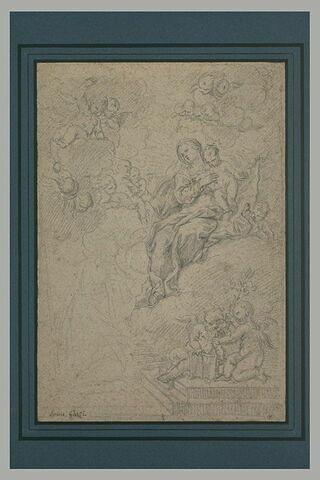 Apparition de la Vierge et l'Enfant et une multitude d'anges